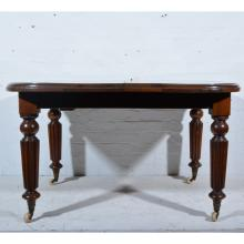 Victorian mahogany wind-out dining table, rectangular top with rounded ends