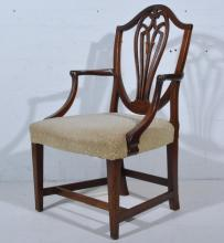 Victorian elbow chair, vase shape panelled back, scrolled arms, oval seat,