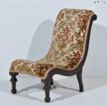 Small Victorian nursing chair, gros point wool work upholstery, stained wal
