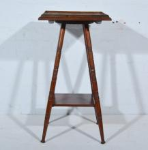 Mahogany occasional table, square top raised on four ringed splayed legs, j