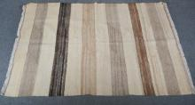 Contemporary Kilim style rug; broad striped design in buff tones, 208 x 142