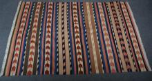 Kilim / Persian rug, with multi-coloured stripe design,  237 x 163cm.