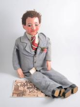 ''Titch'' a ventiloquist's dummy, composition head with wooden hands and fe