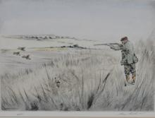 After Henry Wilkinson, pair hand-coloured dry points, pencil signed limited