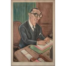 Seven political caricatures by Sallon, including  The Hon Mr Justice Salmon