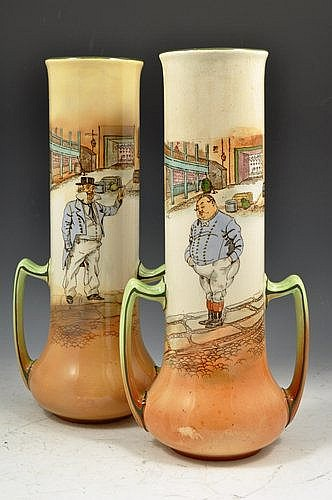 Pair of Royal Doulton Dickens ware two-handled