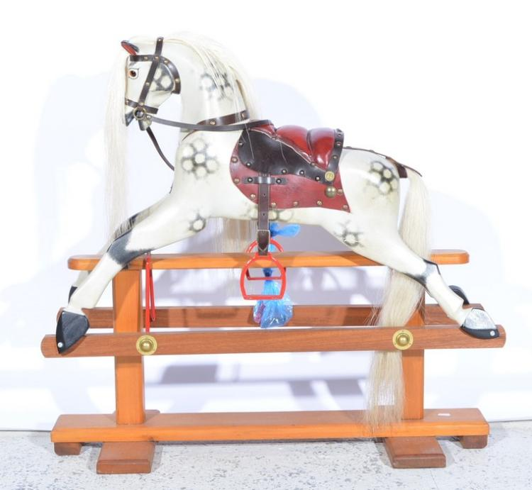 A 39 leeway 39 wooden rocking horse hand crafted by robert lang for Hand crafted rocking horse