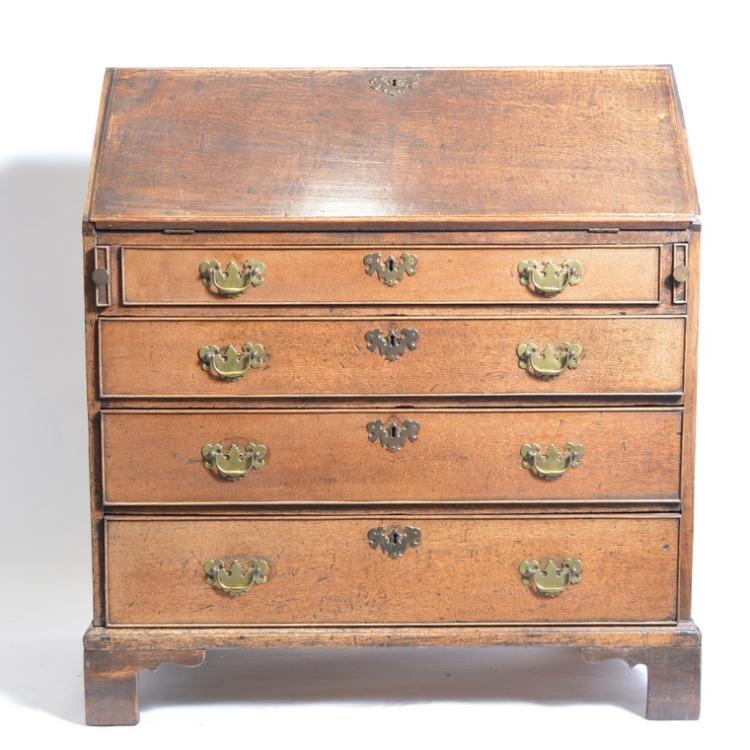 george iii oak bureau fall front four long drawers bracke. Black Bedroom Furniture Sets. Home Design Ideas