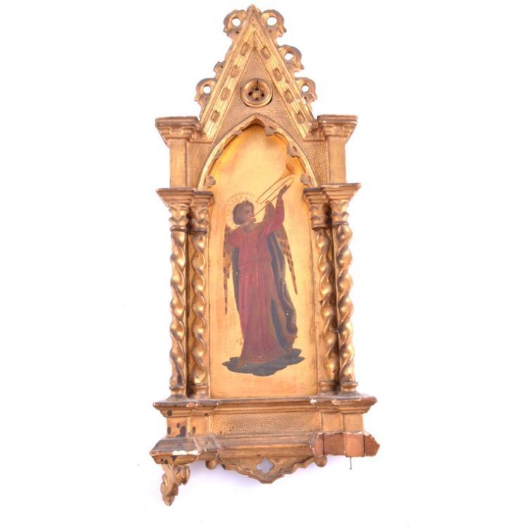 Florentine niche angel, gold ground, gesso frame, 47cm.