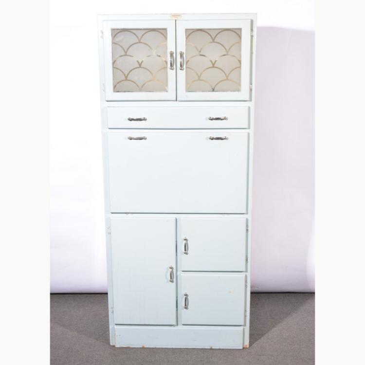1940s painted kitchen cabinet fall front with enamelled int for Auctions kitchen cabinets