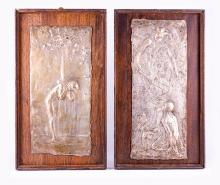 Gilbert Bayes, two silvered copper shallow relief plaques, 1897, one cast w