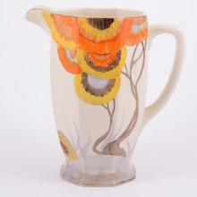 Clarice Cliff, 'Rhodanthe' an Athens shape jug, circa 1935, orange, yellow