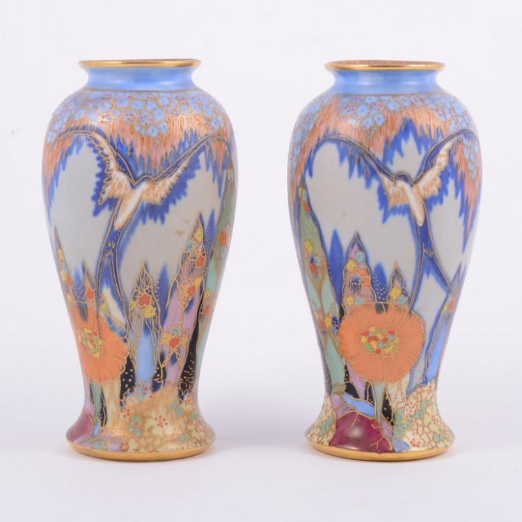 Pair of Carlton Ware 'Fantasia' vases, baluster form, the de Gl Urn Vase Uk on grave vase, faience vase, jar vase, umbrella vase, large silver vase, franco vase, water vase, egg crate vase, obelisk vase, rosette vase, birthday vase, cat vase, ceramic glaze vase, candlestick vase, ewer vase, celtic vase, asian bronze vase, large white vase, lefton china vase, hand shaped vase,