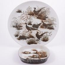 Nils Thorsson for Royal Copenhagen, a stoneware charger and dish, circa 194