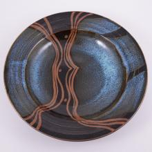 Derek Emms, a stoneware bowl, with flared rim, tenmoku glaze interior with