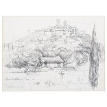 Elizabeth Organ,  Alpes Maritimes,  pen and pencil sketch, signed and dated