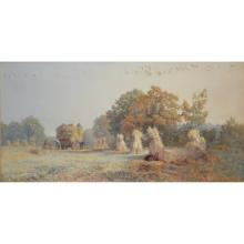 Harry Baker, Harvest-time, Evening, watercolour, signed with monogram, labe