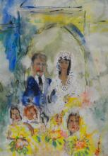 Michael Gibbison, Watercolour of a Wedded couple, signed, 68 x 50cm.