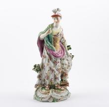 English porcelain figure, Minerva, probably Derby, circa.1760, depicted as