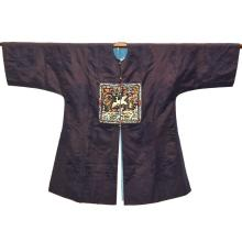 Chinese dark blue damask long robe, embroidered panels each with a mythical