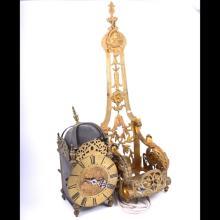 Restoration style brass lantern clock, circa 1900, of conventional design,