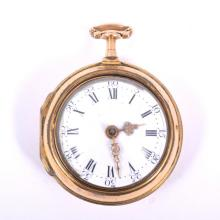 George III pair-cased pocket watch, white enamel dial with Arabic and Roman