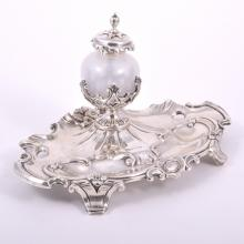 Victorian silver desk stand, by Hawkesworth Eyre & Co, Sheffield 1838, with