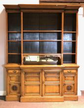 Victorian oak breakfront bookcase, stepped moulded cornice over a reeded fr