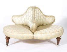 Victorian 'indiscreet' centre-piece settee, brocade upholstery, on ringed a