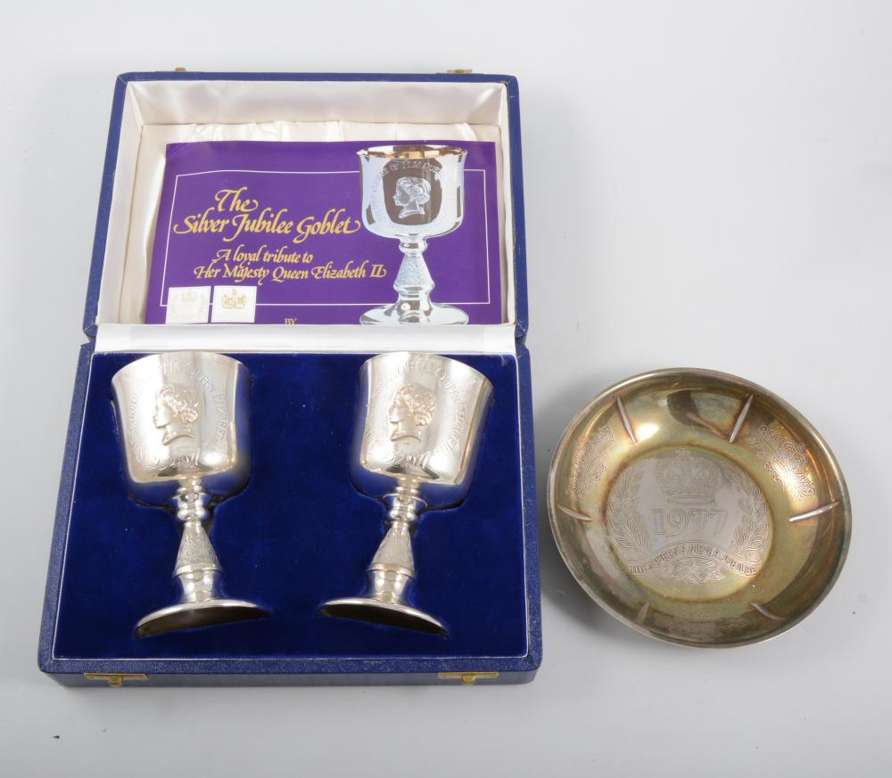 A pair of limited edition silver goblets by Toye Kenning & S
