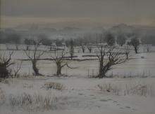 Peter Atkin, winter landscape, signed and dated 1984, watercolour, 23cm x 3