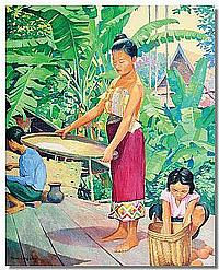Oil Painting: Marc Leguay, Domestic Laotian scene,