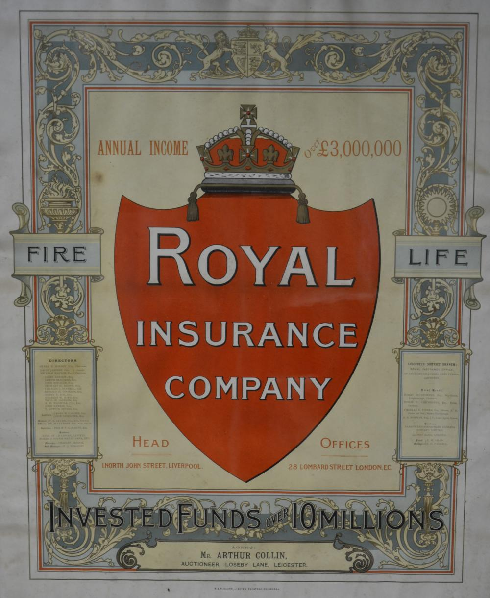 Two framed and glazed posters, \'\'Royal Insurance Company Lei