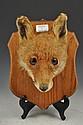 Taxidermy: Fox mask trophy, oak shield plaque,