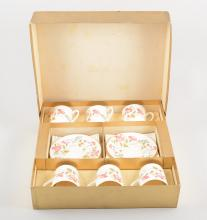 Abbeydale bone china coffee set, cased; two cased sets of Royal Worcester r
