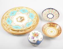 Coalort cabinet plate, central, painted landscape, blue and gilt borders, 2