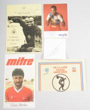 Collection of sporting signatures; Frank Bruno, Garry Birtles, Zola Budd, C