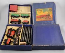 Hornby O gauge railway sets MO Goods set boxed, MI Goods set boxed, along w