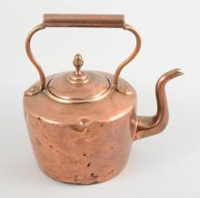 Copper kettle and a warming pan, (2).