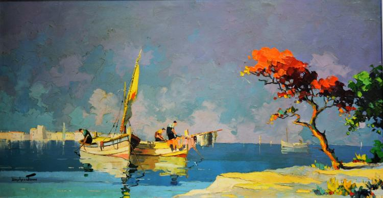 Doyly John, '' Fishermen Preparing off French Coast at Eden Roc near Cap D'