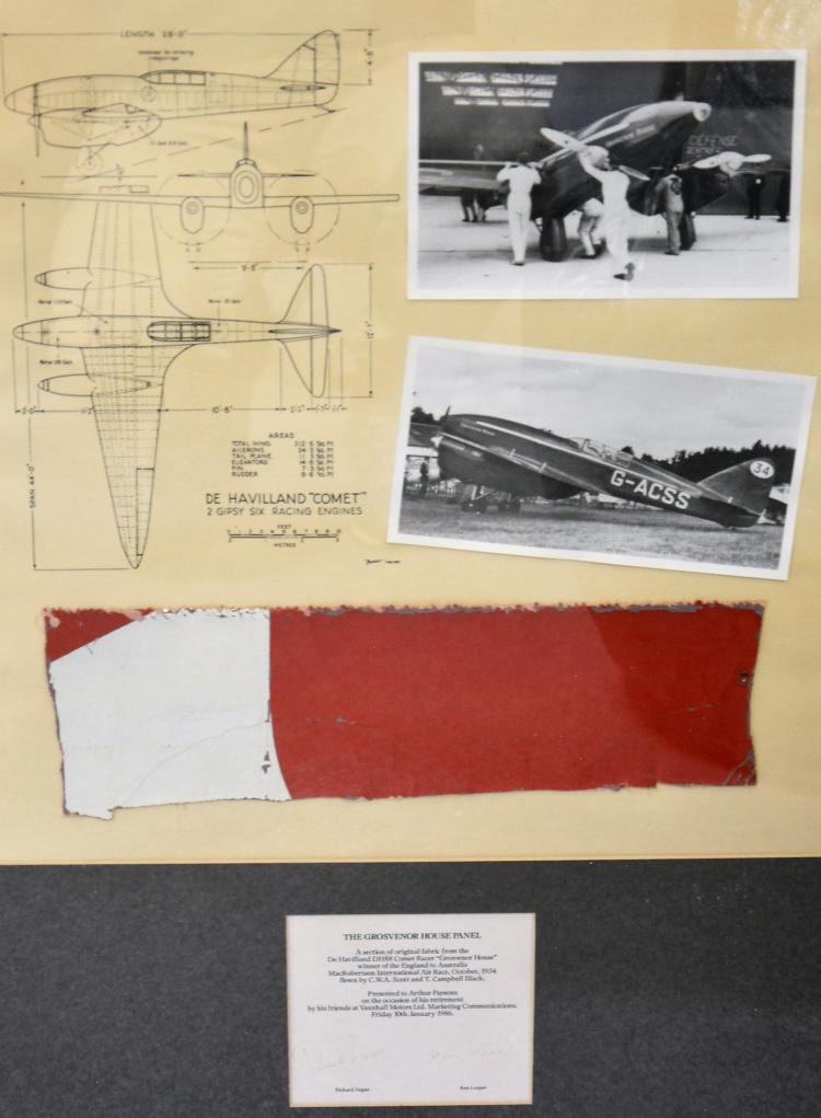 Framed fragment of 'Grosvenor House' The De Havilland, DH88 comet racer, wi