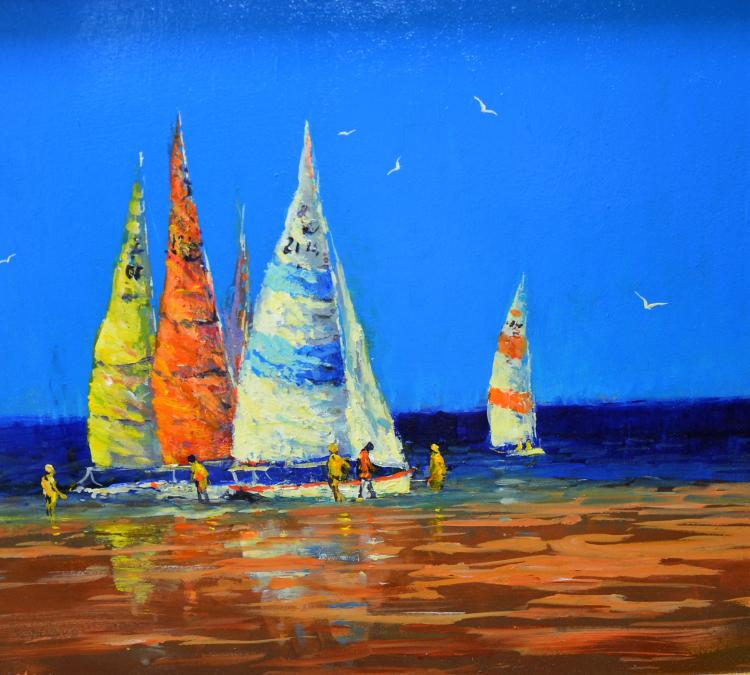 Allan Nelson, Yachts in Colour, oil on board, 57cm x 52cm, with copy certif