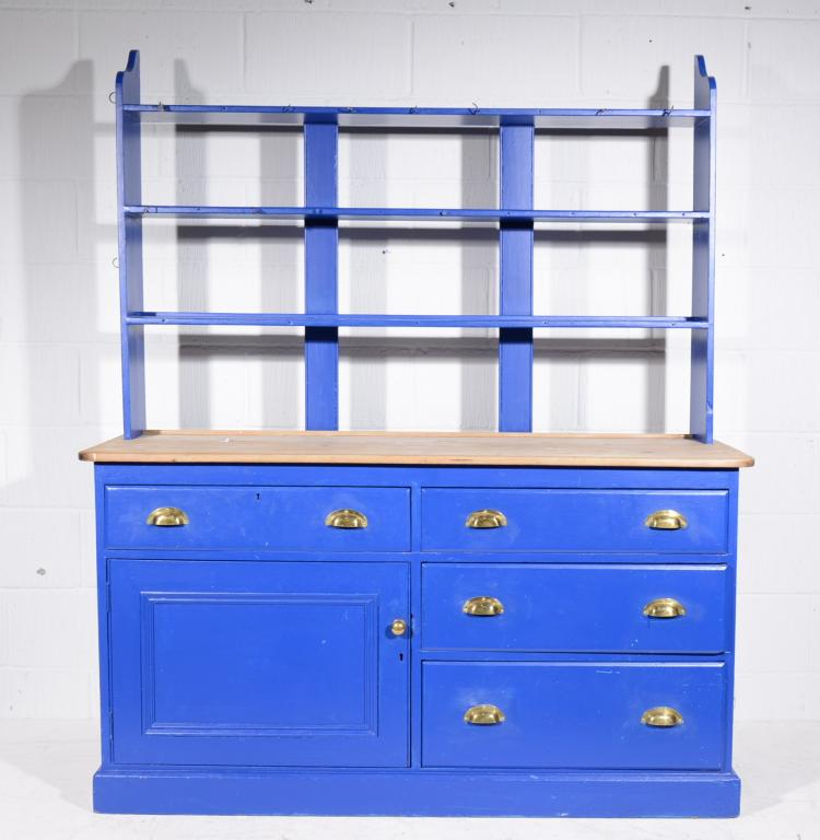 Blue painted pine kitchen dresser, with a scrubbed top, open shelf back wit