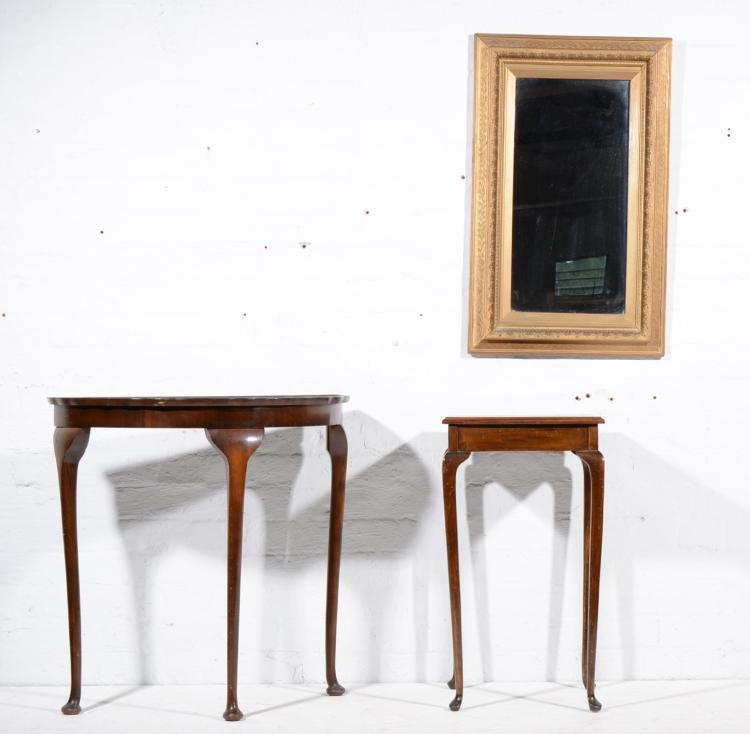 Gilt composition wall mirror, rectangular plate, a figured walnut demi-lune