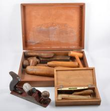 A wooden tool box, 53cm x 29cm x 30cm, containing Stanley and Record drills