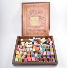 'The Great Exhibition'. Victorian mahogany thread box, containing reels, (