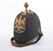 British Royal Artillery Home Service 1878 pattern cloth helmet, gilt metal