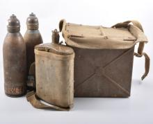 Two British military field signalling boxes, a military issue flask and two