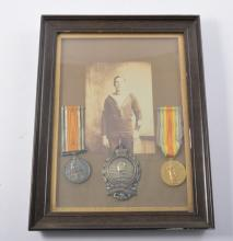 WWI British War Medal; Victoria Medal; both named to 'K.49326 E.J. Evans St