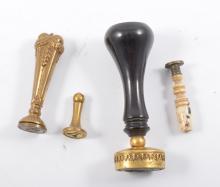 Desk seal, clear stone intaglio, gilt mount, ebony handle, 9cm and three ot